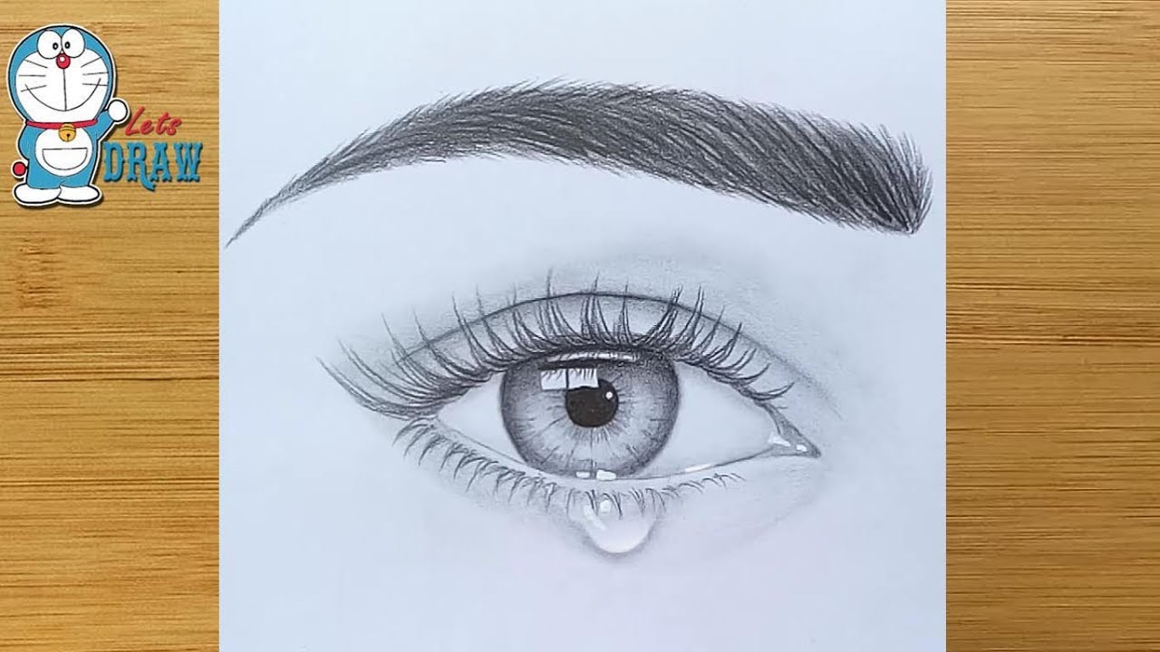 How to draw an eye with teardrop for Beginners.
