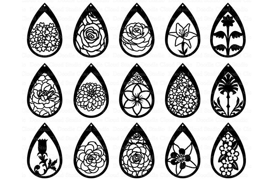 Floral Earrings SVG, Teardrop Earrings, Pendant SVG files By.
