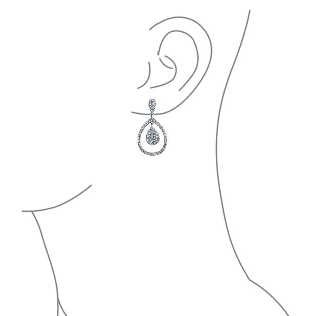 CZ Micro Pave Teardrop Prom Statement Drop Earrings Silver Plated.