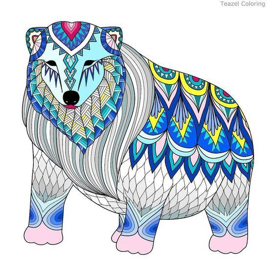 Polar bear with pink feet by Denise #teazel #teazelcoloring.