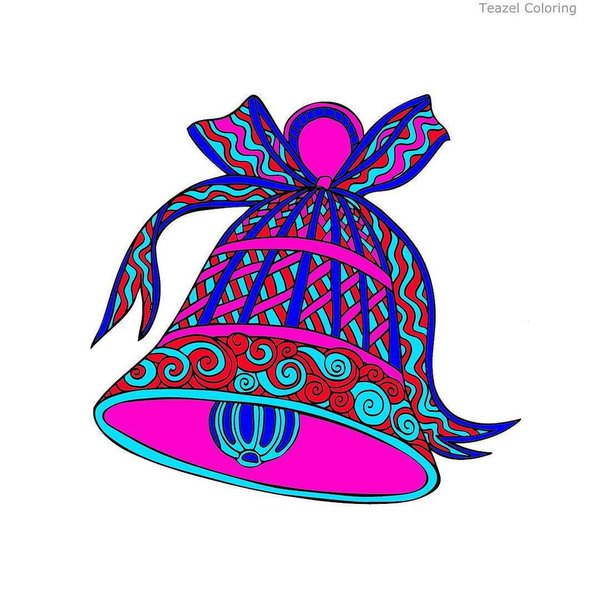 """Teazel on Twitter: """"A red, blue and pink bell from Jessica #teazel."""