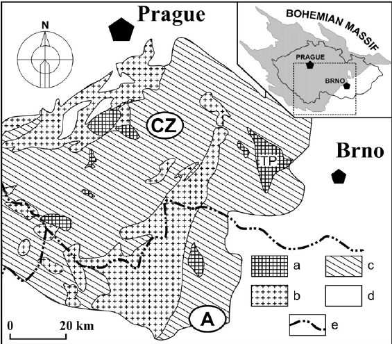 Schematic geological map of the Moldanubicum. TP.