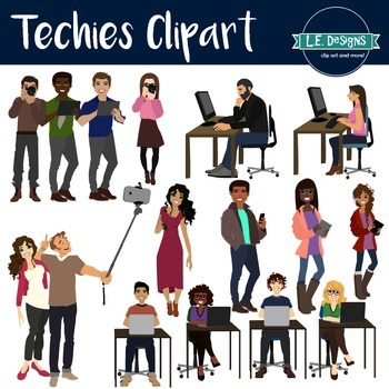Big Kids and Teens using Technology Clipart.