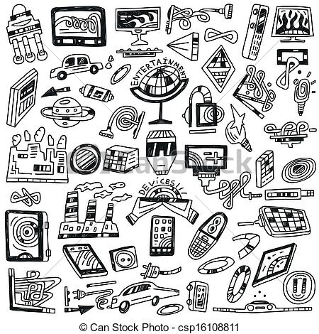 Vector Clip Art of technology devices doodles.