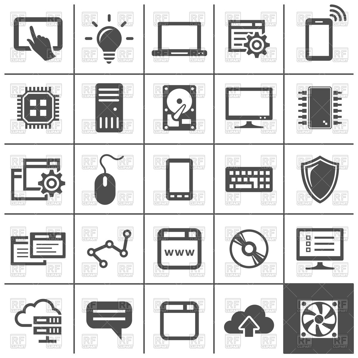 Computer technology icons.