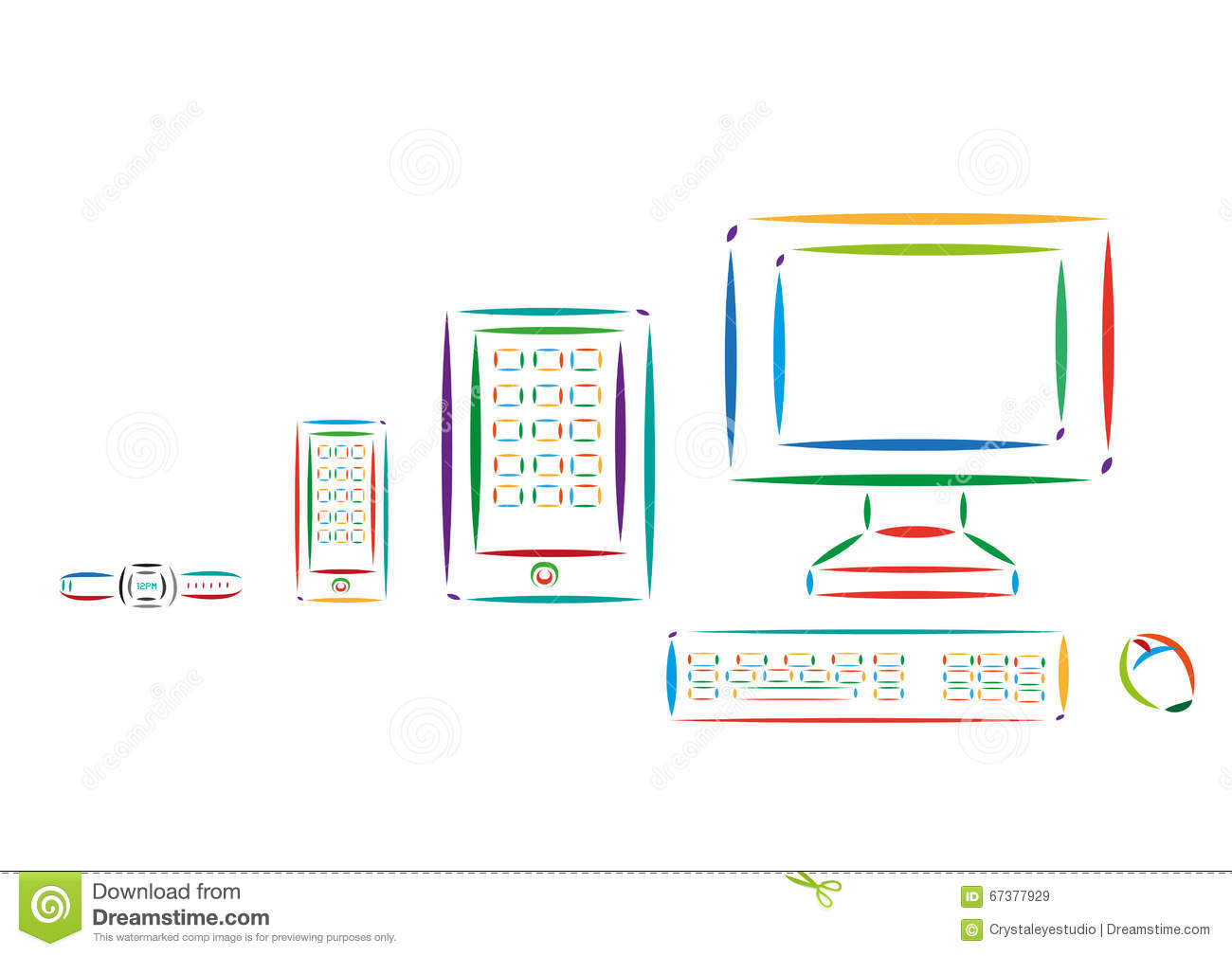 Set Of Different Modern Tech Devices Colorful Line Art. Editable.