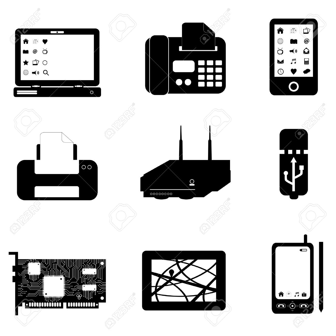 Computer And Technology Objects On White Royalty Free Cliparts.
