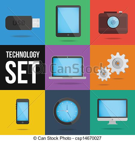 Vector Illustration of technology and devices icons set vector.