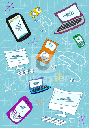 Tech devices icons set illustration stock vector.