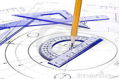 Engineering Drawing With Details Stock Photo.