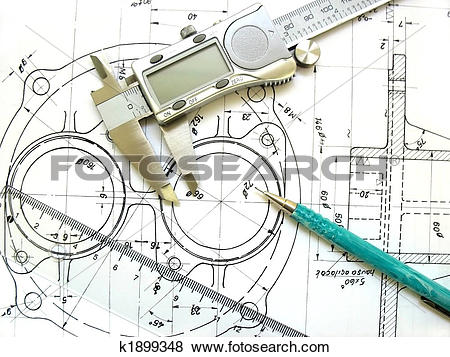Pictures of Engineering tools on technical drawing. Digital.