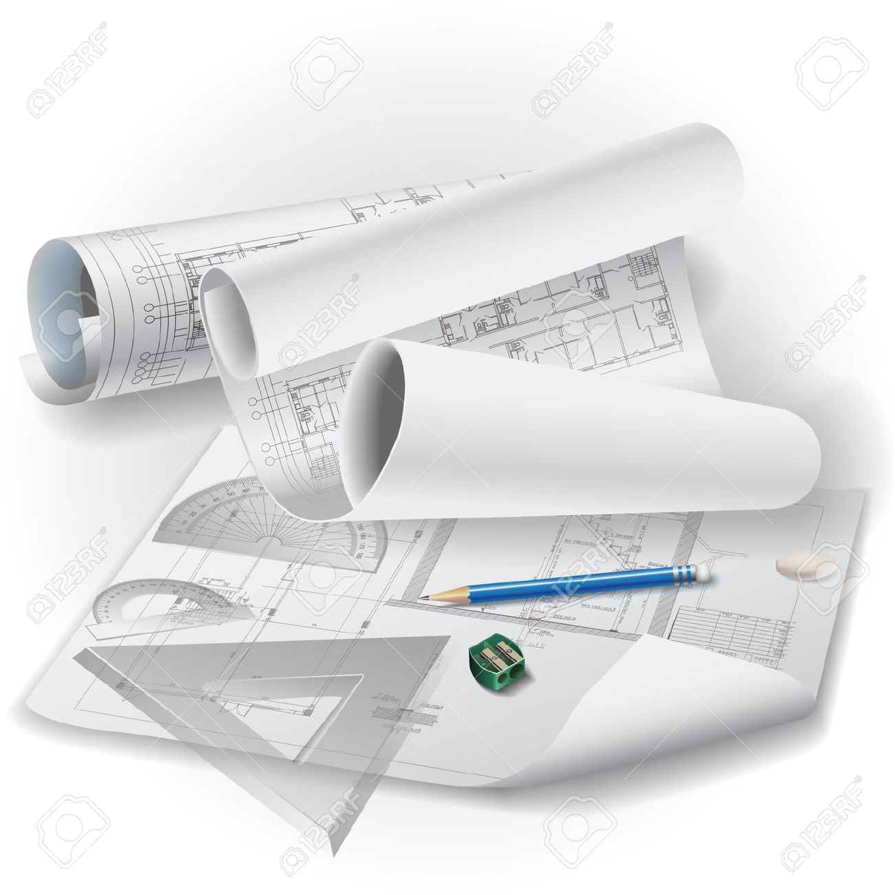 Architectural Background With Drawing Tools And Rolls Of Drawings.