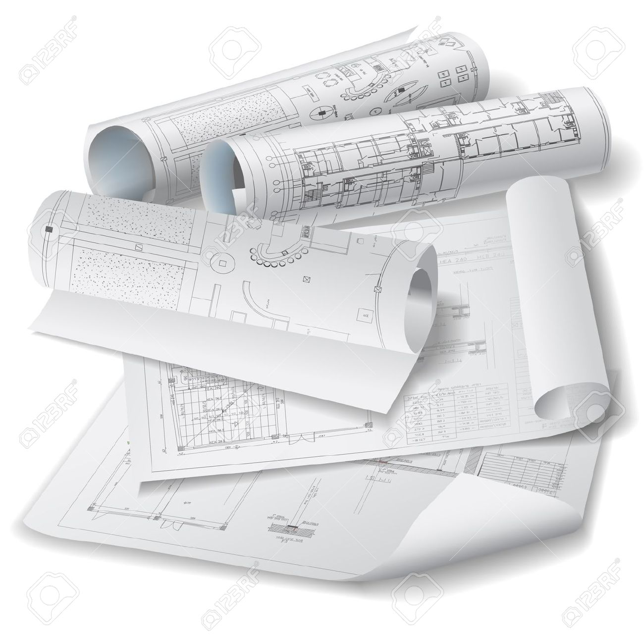 Architectural Background With Rolls Of Technical Drawings Vector.