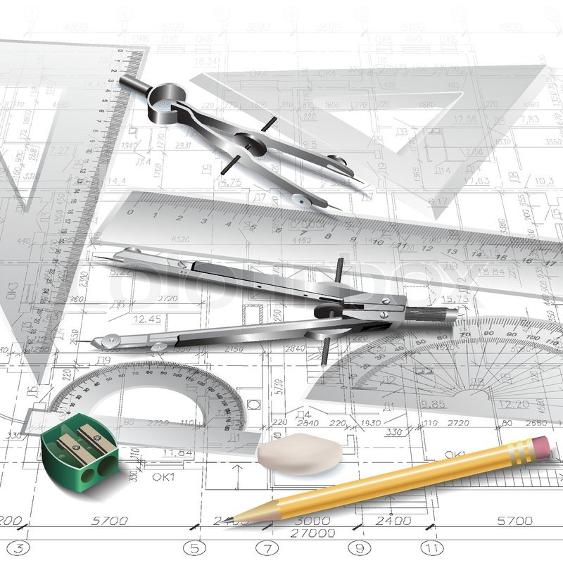 Architectural background with drawing tools and technical drawings.