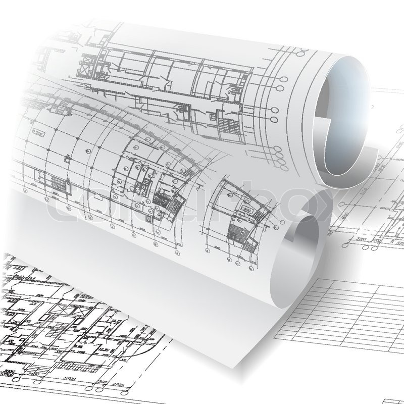 Architectural background with rolls of technical drawings. Vector.