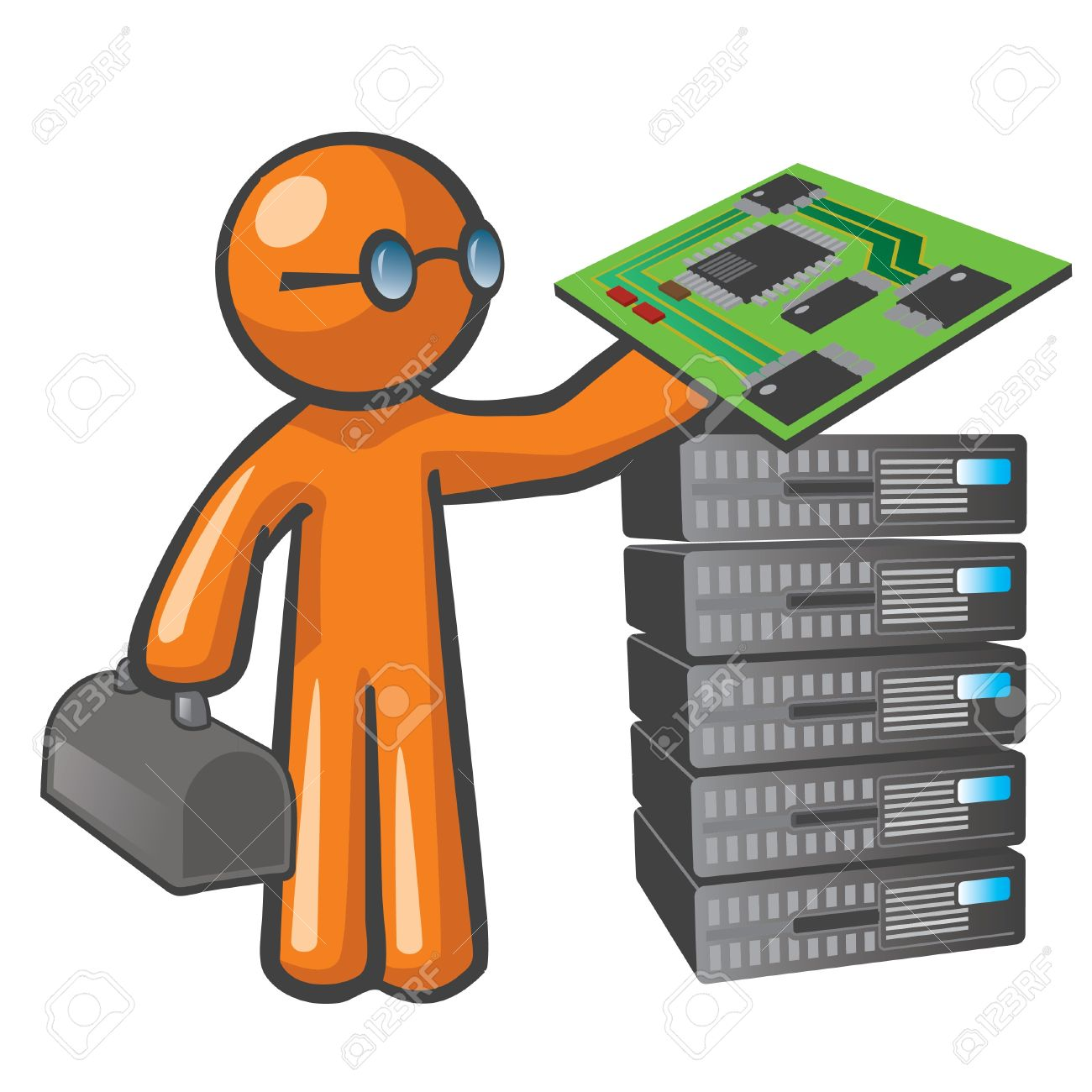 Orange Man Server Technician. Royalty Free Cliparts, Vectors, And.