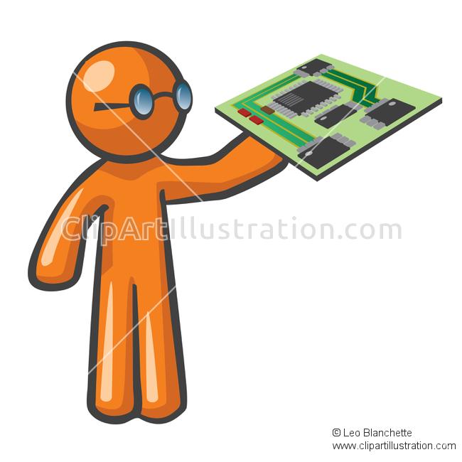 ClipArt Illustration of Orange Man Technician Holding Mother Board.