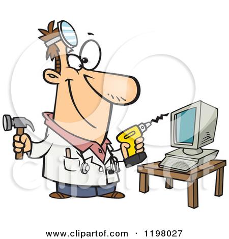 Cartoon of a Computer Repair Technician with Tools.