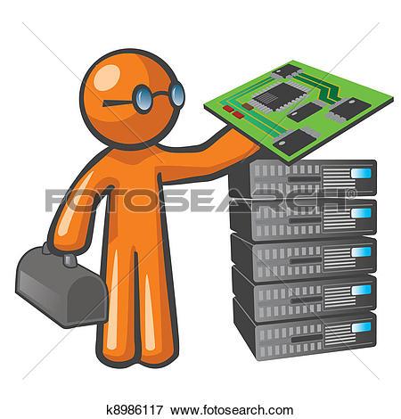 Stock Illustration of Orange Man Server Technician k8986117.
