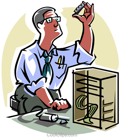 Computer technician Royalty Free Vector Clip Art illustration.
