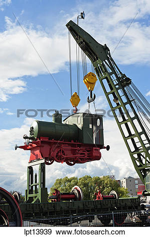 Stock Photograph of HANGING LOCOMOTIVE AT AUTO AND TECHNIK MUSEUM.