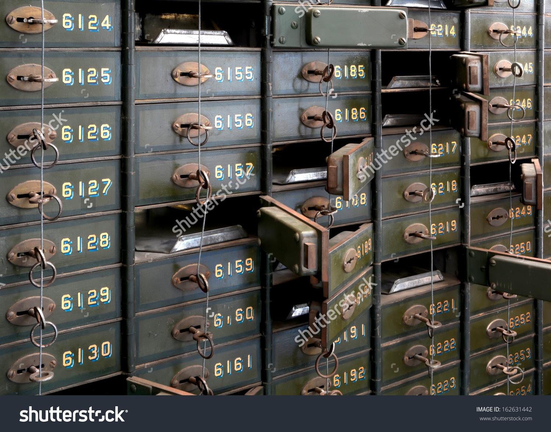 Historic Bank Lockers Technik Museum Magdeburg Stock Photo.