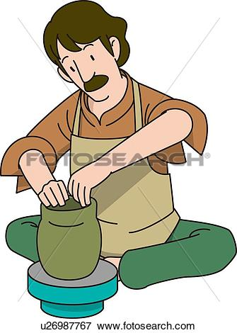 Stock Illustration of Ceramic Artist, Illustrative Technique.