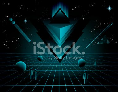 80\'s Techno Background Clipart Image.