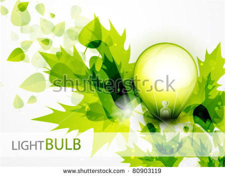 Vector Green Light. Light Bulb And Green Leaves. Technology And.