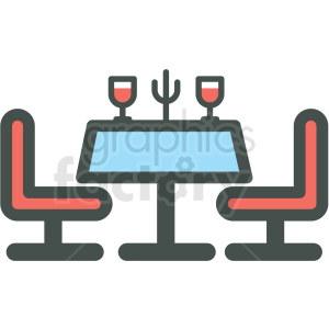 dinner table vector icon . Royalty.