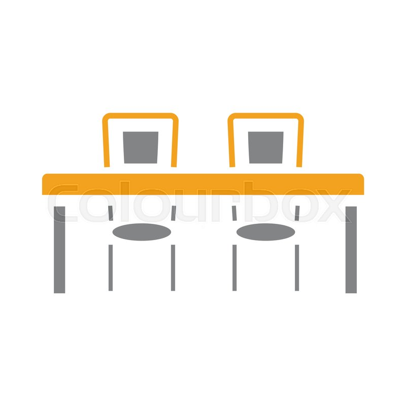 Dinner table icon with two chairs in.
