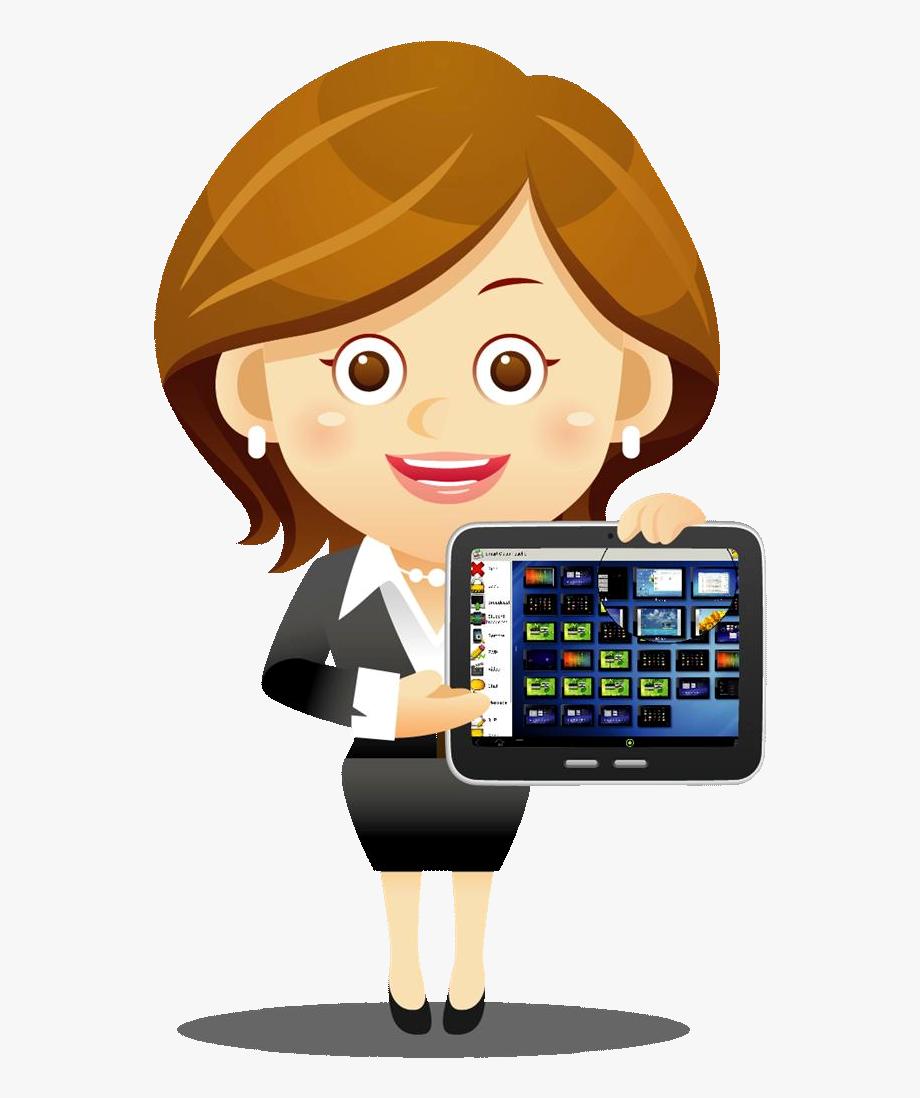 Teacher Using Technology Clipart , Png Download.