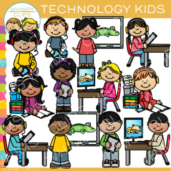 Kids with Technology Clip Art by Whimsy Clips.