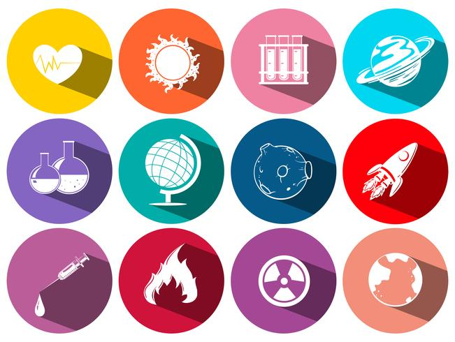 Science and technology symbols on round icons.