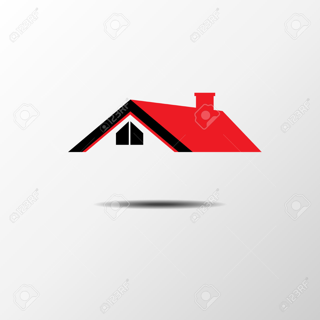 Casa Real Estate Techo Rojo Ilustraciones Vectoriales, Clip Art.