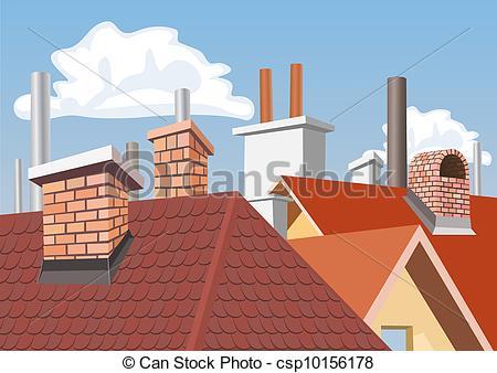 Ilustraciones vectoriales de techos, chimeneas, Casas.