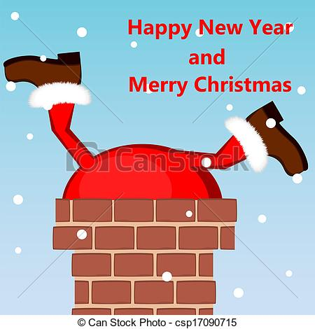 Vector Clip Art of Santa Claus stuck in the chimney on the roof.
