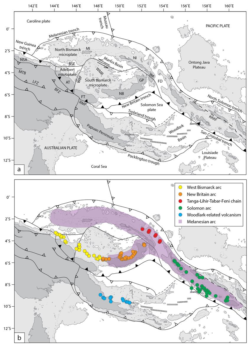 Tectonic setting of Papua New Guinea and Solomon Islands. a.