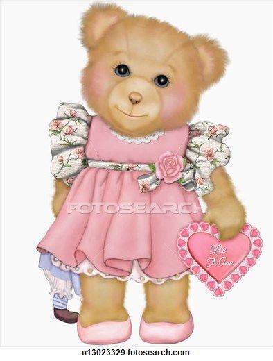 Girl teddy bear with valentine heart.