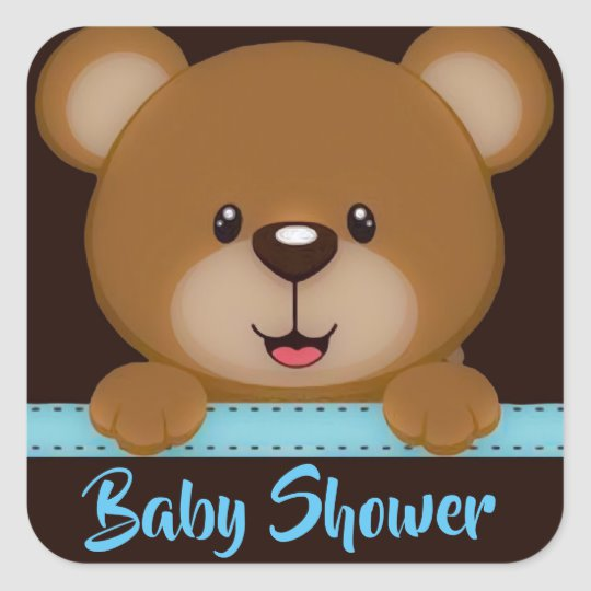Cute Teddy Bear Baby Boy Shower Square Sticker.