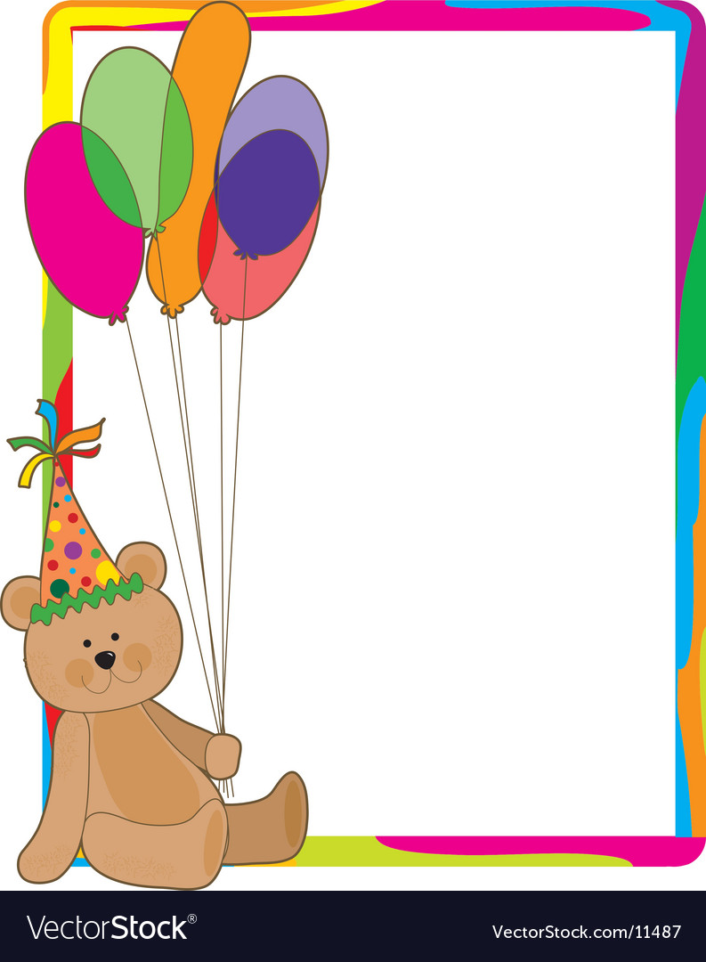 Birthday bear border.