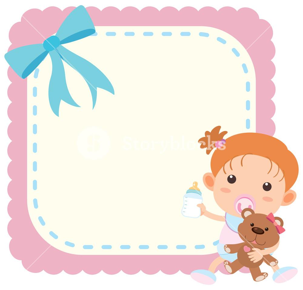 Border template wtih baby girl and teddybear Royalty.