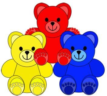 Little Colored Bears Clip Art Make your own math materials.