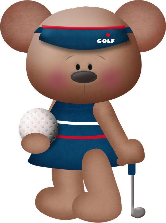 GOLFING TEDDY BEAR *.