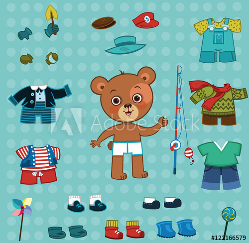 Cute bear boy with his cloth set. For dress up,paper doll.