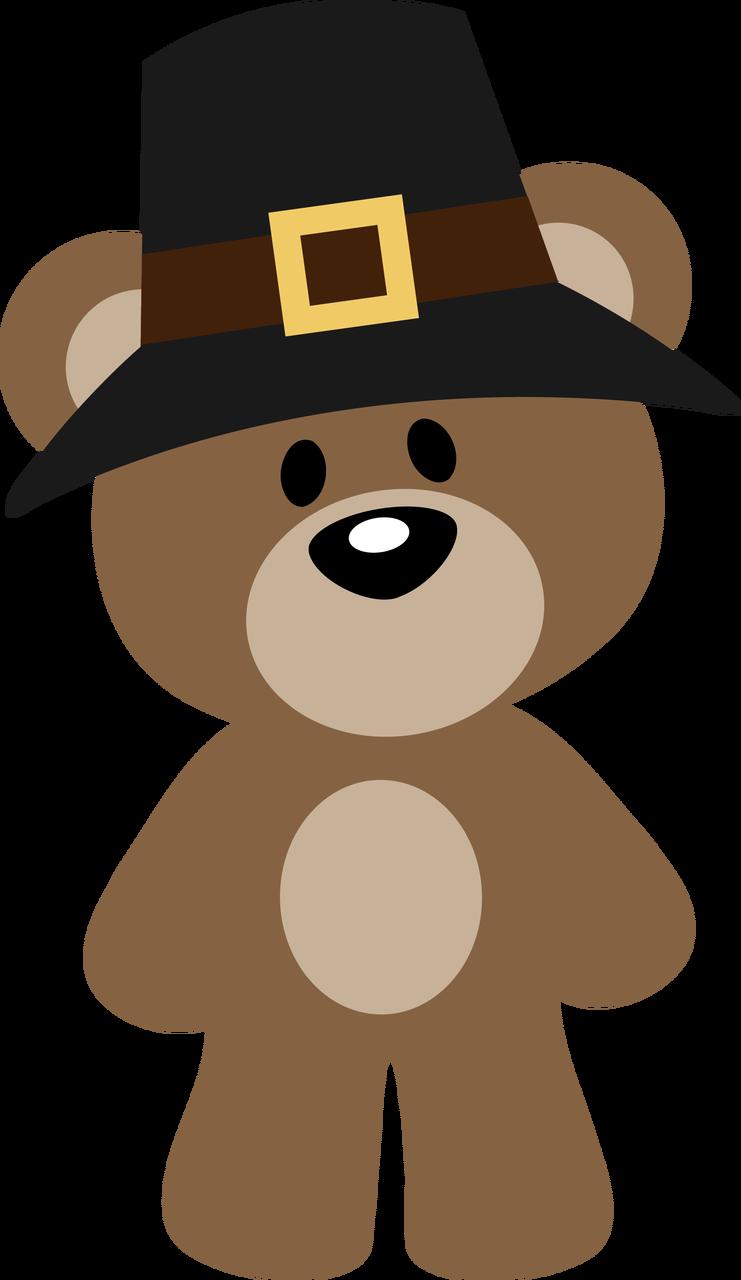Cartoon Thanksgiving Teddy Bear Clipart.