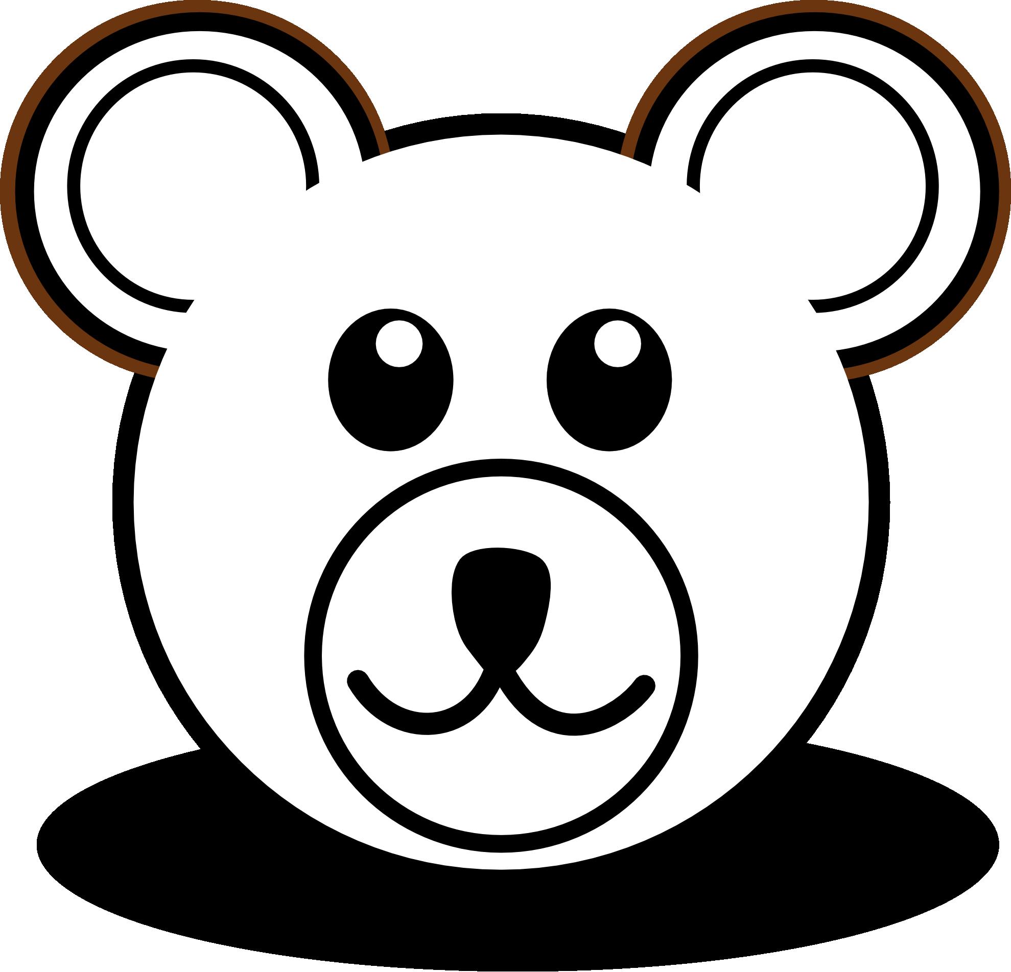 Bear 3 Head Cartoon Brown Black White Line Art Teddy Bear.