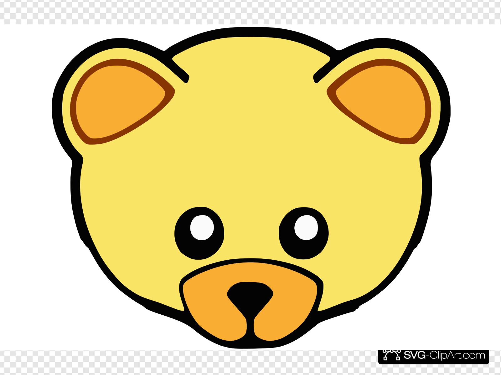 Yellow Cute Teddy Bear Face Clip art, Icon and SVG.