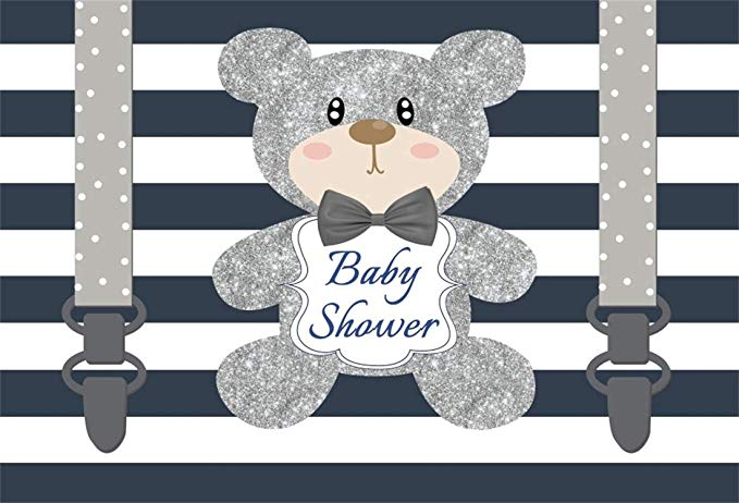 Yeele 5x3ft Photography Backgrounds Baby Shower Photo Booth Blue Stripe  Straps Teddy Bear Backdrop Girl or Boy Gender Reveal Photo Video Drapes.