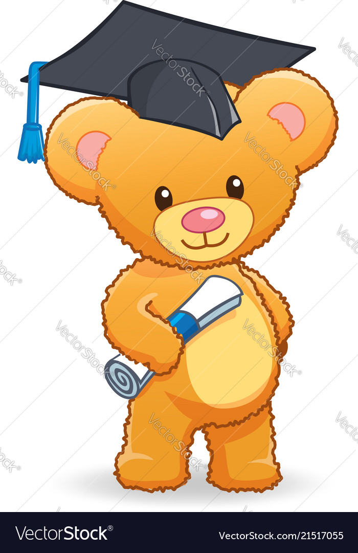 Graduating cute cuddly teddy bear.